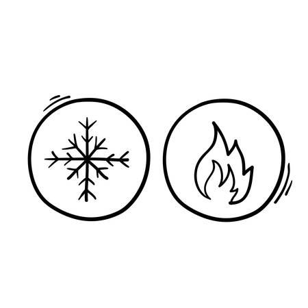 Hot and cold symbol vector icon set on white background with hand drawn doodle style