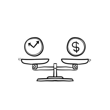 Time is money on scales icon. Money and time balance on scale. Weights with clock and money coin. Vector illustration in hand drawn doodle style isolated