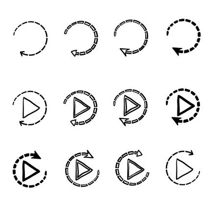Set of replay or reload buttons icon with hand drawn doodle style vector isolated on white