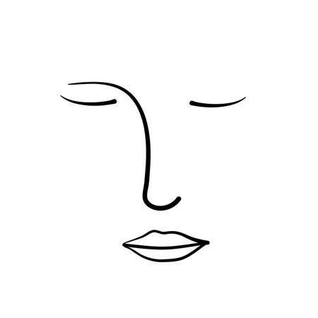 Abstract line continuous face. Contemporary drawing in modern cubism style. Portrait of a woman face isolated background