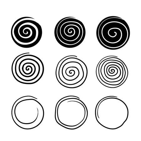 collection of spiral illustration with hand drawn doodle line art style isolated on white background Vektorové ilustrace