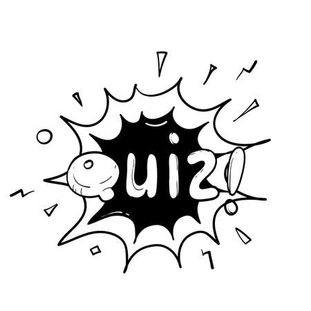 hand drawn Quiz in comic pop art style. Quiz brainy game word. Vector illustration design isolated background