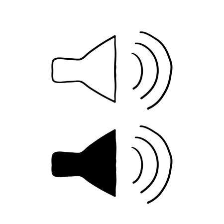 Speaker icon vector. doodle Sound Speakers symbol hand drawn style isolated