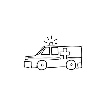 hand drawn doodle ambulance illustration with cartoon style vector isolated