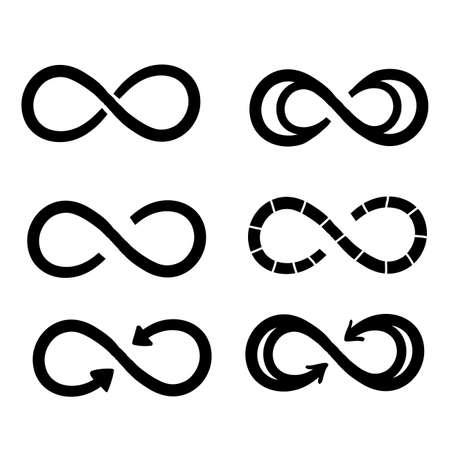 Symboles de l'infini. Logo de vie éternel, illimité, sans fin ou concept de tatouage. Vecteur de style doodle dessiné à la main isolé