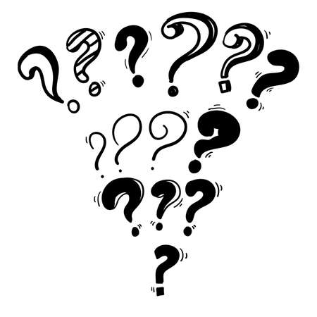 collection of hand drawn question marks. doodle questions marks set. vector illustration. isolated background