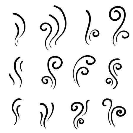 Dibujado a mano icono de olor de aroma. Conjunto de icono de vector de humo. Humo, vapor, aroma, olor. Ilustración de vector. garabatear