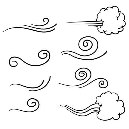 raccolta di scarabocchiare il vento illustrazione vettoriale stile disegnato a mano