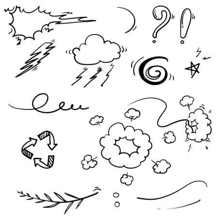 Hand gezeichneter Gekritzelelementillustrations-Sammlungsvektor lokalisiert