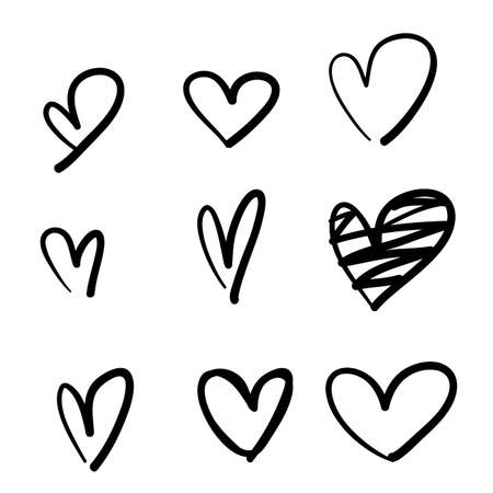 doodle collection set of hand drawn scribble hearts isolated on white background