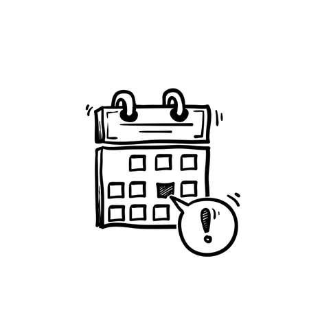 Date limite du calendrier dessiné à la main ou icône de vecteur de notification de rappel d'événement, symbole d'ordre du jour de dessin animé de doodle avec le jour important sélectionné et l'arrière-plan isolé du message de notification