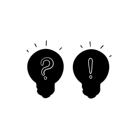 Problem solution icon symbol Question and answer business concept.hand drawn doodle style isolated background