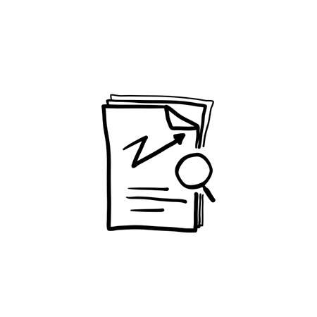 hand drawn review audit, overview risk icon, verification business, thin line symbol for web and mobile phone on white background doodle