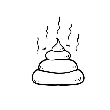 doodle poop illustration with hand drawn style Vektorové ilustrace