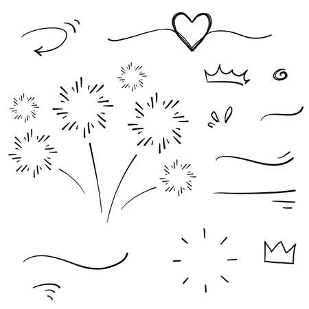 hand drawn collection of curly swishes, swashes, swoops. Calligraphy swirl. Highlight text elements.doodle style