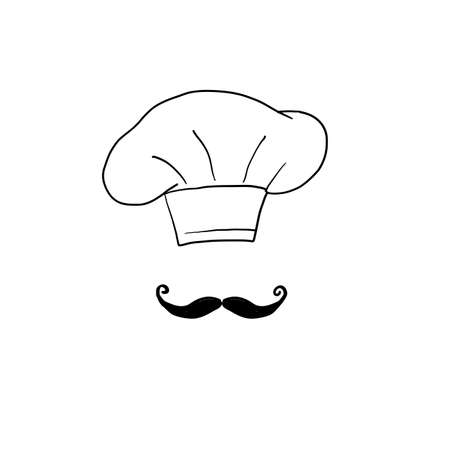 doodle chef icon illustration.hat and mustache symbol for chef icon illustration vector