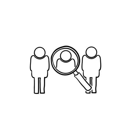 hand drawn illustration symbol for Find people employer business concept.Search job vacancy icon in doodle style.isolated