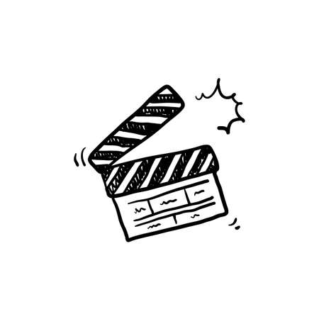 hand drawn Movie clapperboard icon. Film set clapper for cinema production. Board clap for video clip scene start. Lights, camera, action! Hand drawn sketch in vector doodle style