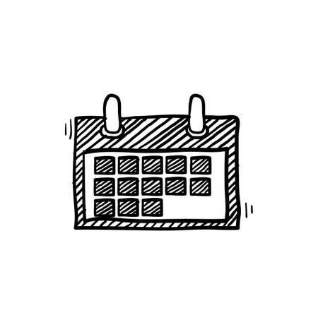 hand drawn calendar icon illustration with doodle line art style vector isolated