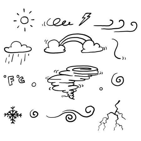 hand drawn doodle weather collection symbol set with line art cartoon style vector