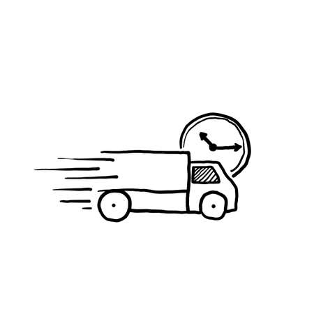 hand drawn fast delivery truck icon, express delivery, quick move, line symbol on white background vector Foto de archivo - 143645022