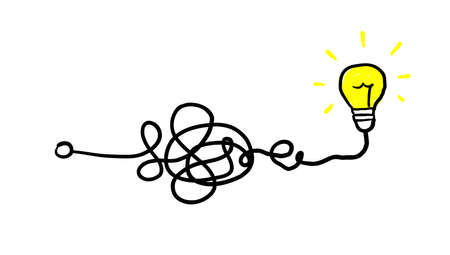 Simplifying the complex, confusion clarity or path vector idea concept with lightbulbs doodle illustration 向量圖像