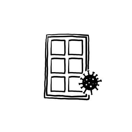 hand drawn illustration corona virus locked and quarantined symbol for lockdown with doodle style  イラスト・ベクター素材