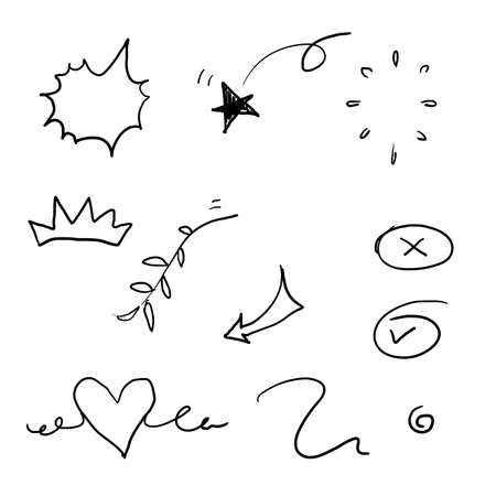 collection of elements, black on white background. Arrow, heart, love, star, leaf, sun, light, flower, daisy, crown, king, queen,Swishes, swoops, emphasis ,swirl, heart, doodle