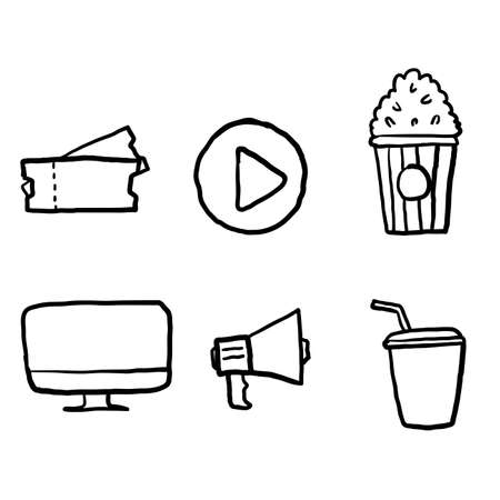 hand drawn Cinema line icons set vector illustration. Contains such icon as film, movie, tv, video and more. doodle vector Ilustração