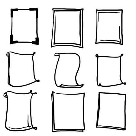 thick line doodle frame collection with rough style vector