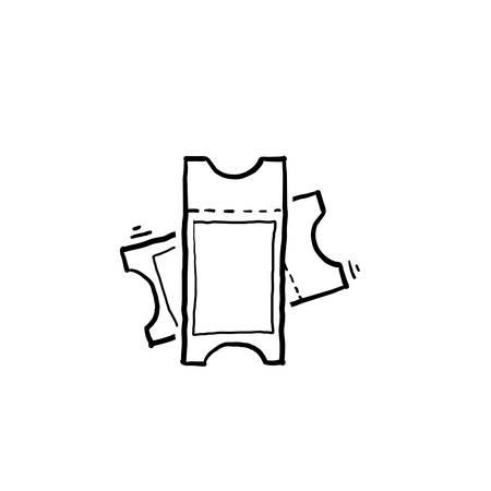 hand drawn Ticket icon vector. Line raffle ticket symbol.doodle style vector Ilustração
