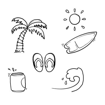hand drawn doodle summer element illustration with cartoon style vector isolated 向量圖像