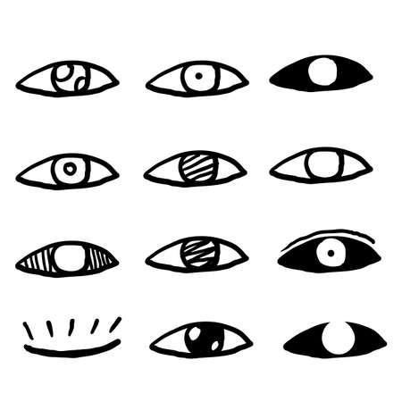 iconos de ojo de contorno dibujados a mano. Imágenes de ojos abiertos y cerrados, formas de ojos dormidos con pestañas, supervisión de vectores y signos de búsqueda doodle