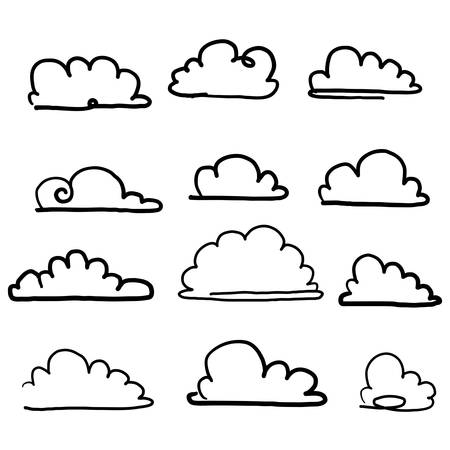 doodle cloud illustration hand drawn vector