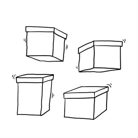 doodle box icon illustration with hand drawn style vector isolated