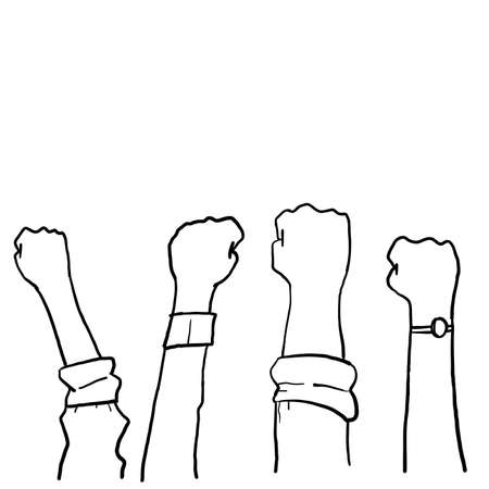 hand drawn Demonstration, revolution, protest raised arm fist with Fight for Your Rights caption. arm silhouette on isolated background. Vector illustration.