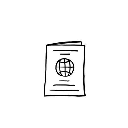 hand drawn doodle passport icon illustration with cartoon style vector isolated background Vectores