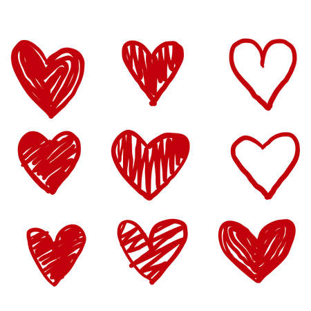 hand drawn Doodle hearts, hand drawn love heart collection. red color vector Ilustração