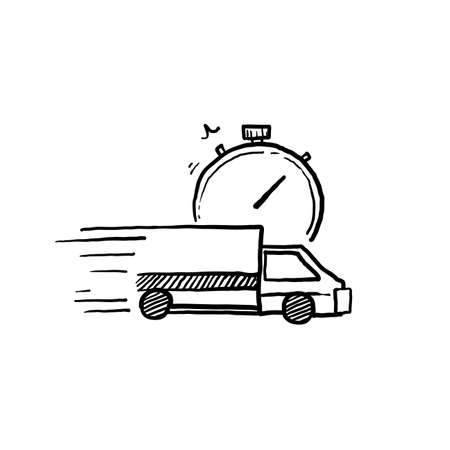 hand drawn fast delivery truck icon, express delivery, quick move, line symbol on white background vector Foto de archivo - 143645311