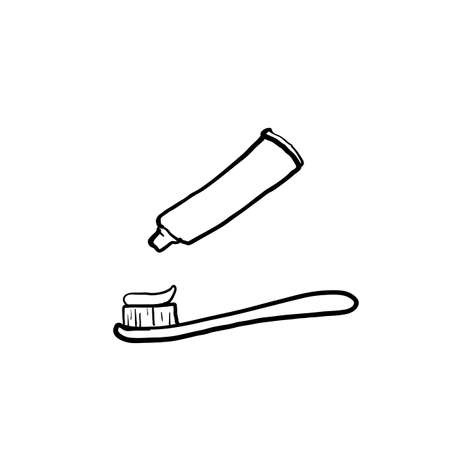 hand drawn toothbrush and toothpaste illustration with doodle style vector
