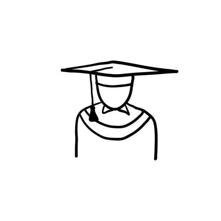 hand drawn Graduation icon set in thin line style doodle vector