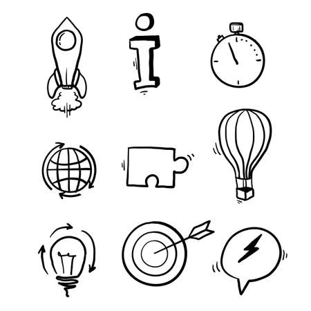 hand drawn Startup line icons. Launch Project, Business report and Target. Strategy linear icon set. Quality line set. Vector doodle Vector Illustration