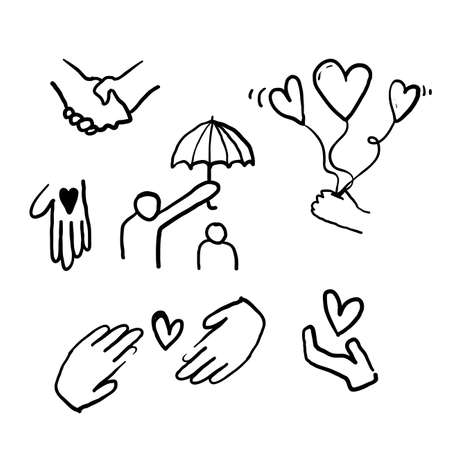hand drawn doodle illustration icon symbol for Care, generous and sympathize icon set in thin line style vector