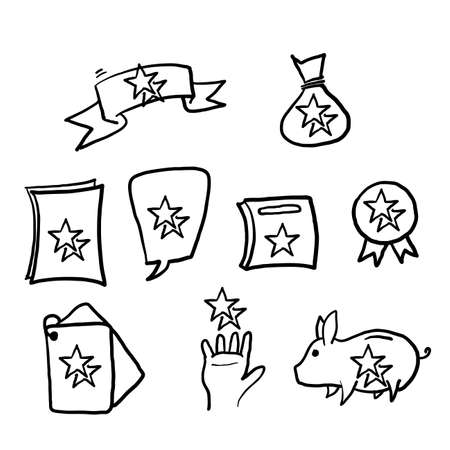 hand drawn Loyalty program line icons. Bonus card, Redeem gift and discount coupon signs. Lottery ticket, Earn reward and winner gift icons.doodle Illustration