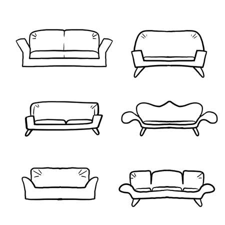 hand drawn Comfortable sofas. Luxury couch for apartment, comfort sofa models and modern house sofas. Domestic couch furniture, cozy luxury fashion sofas.doodle cartoon line Ilustração