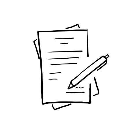 hand drawn doodle job contract illustration vector isolated cartoon