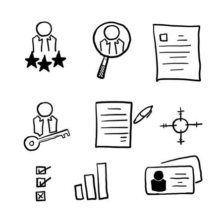 hand drawn Head Hunting Related Vector Line Icons. Contains such Icons as Candidate, CV, Card Index, Outsource and more. doodle Illustration