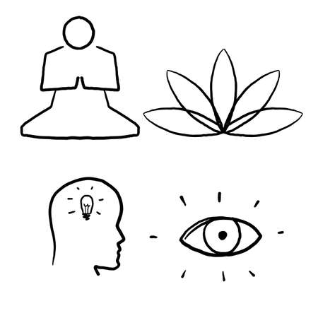 hand drawn Meditation Practice and Yoga Vector Line Icons Set. Relaxation, Inner Peace, Self-knowledge, Inner Concentration, Spiritual Practice.doodle