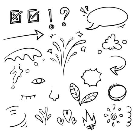 hand drawn doodle element. consists of Arrow, heart, love, star, leaf, sun, light, flower, crown, king, queen,Swishes, swoops, emphasis ,swirl, heart, for concept design. doodle