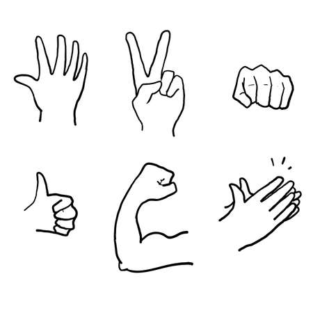 hand drawn Hand Emojis Gestures Vector Icons Set. Biceps, fist, folded hands, victory. doodle